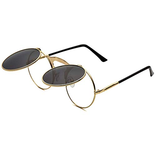 Dollger Round Sunglasses for Men Women Retro SteamPunk Style Flip Up Mirror Circle Shades Gold Frame Glasses, -