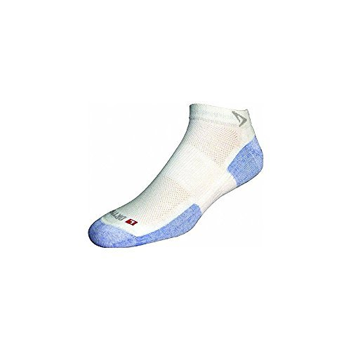DryMax Hot Weather Run Mini Crew, White/Blue, W5-7 / M3.5-5.5, 2 Pack