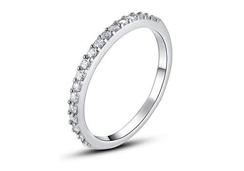 Simulant Ring Eternity Diamond - Cubic Zirconia Micro Paved Half Eternity Band Stacking Bridal 1MM Wedding Ring (Silver, 9)