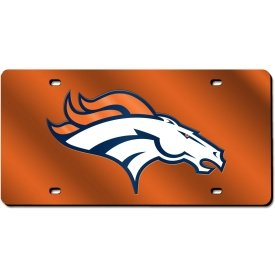 Rico Industries NFL Denver Broncos Laser Cut License Plate, Orange