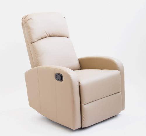 Sillón Relax con Reclinación Manual, Tapizado en PU Anti-Cuarteo. Modelo Premium AH-AR30600TP, Topo, Compacto