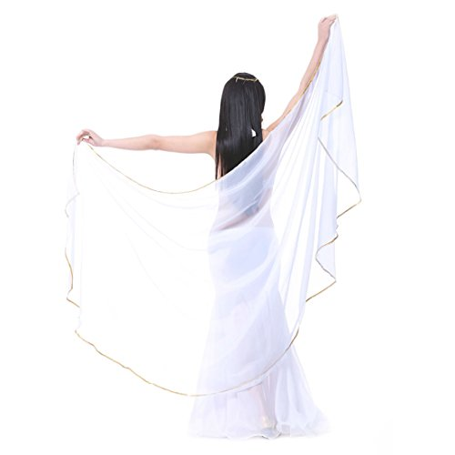 Calcifer 250cmX120cm Chiffon Semicircle Belly Dance Scarf Veils Accessories for Women Professional Dancer (White)