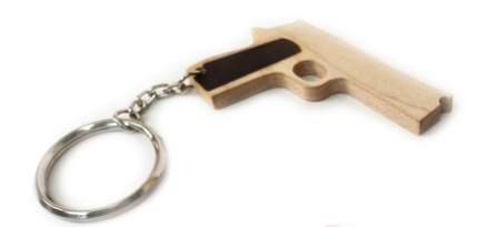 Elastic Precision Wooden Rubber Band Gun (1911 Keychain (1)) (Blue Hait)