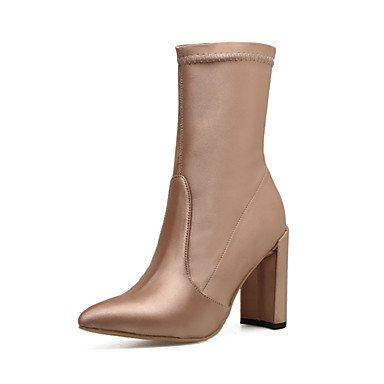 Heart&M Mujer Zapatos Semicuero Primavera Otoño Invierno Confort Innovador Pump Básico Botas Tacón Robusto Con Para Boda Casual Vestido Fiesta y black