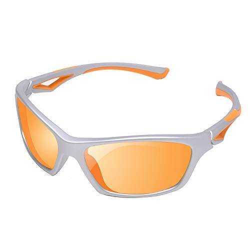 YAMAZI Kids Polarized Sunglasses Sports Fashion For Boys Girls Toddler Baby And Children (Grey | Orange Mirrored Lens, Gray)