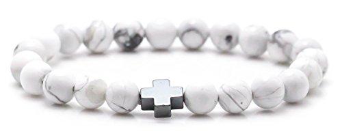 Jenhianeck Fashion Religion Alloy Cross 8MM Turquoise Beads Elastic Bracelet Bangle (Black)