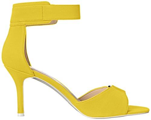 Nine West Womens Gainey Synthetic Heeled Sandal Yellow
