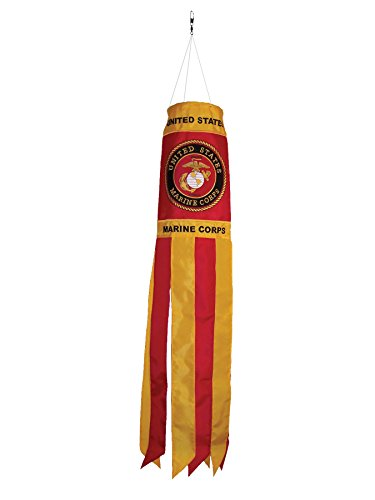 In the Breeze U.S. Marine Corps Emblem 40 Inch Windsock - Military Service Hanging Decoration - Durable Embroidered and Appliqué (Spinner Applique)