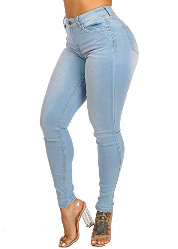 ModaXpressOnline High Waisted Light Wash 1 Button Brown Stitching Skinny Jeans 10082R