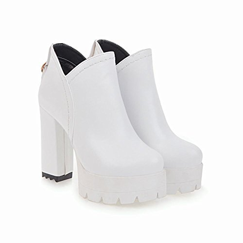 Carolbar Womens Fashion Comfort Zip Platform High Heel Short Boots White sttMJVgNmU