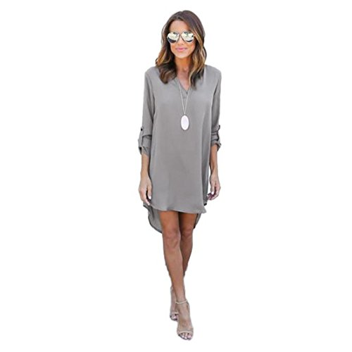Price comparison product image Luca Women Long Solid Blouse and Tops Mini Dress, Ladies Chiffon 3/4 Long Sleeve Loose Causal T-Shirt Party Dress (Gray, S)