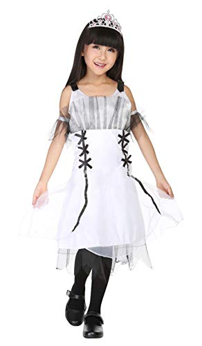 La Vogue Girls Halloween Party Costume Drop Shoulder Princess Dress Devil Role Play Fancy Dress White