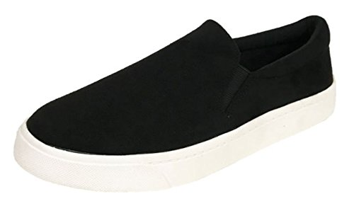 Lightweight Suede Sneakers - SODA Reign Slip On Faux Suede Sneaker, Closed Toe w/Memory Foam Insole Reign(8, Black)