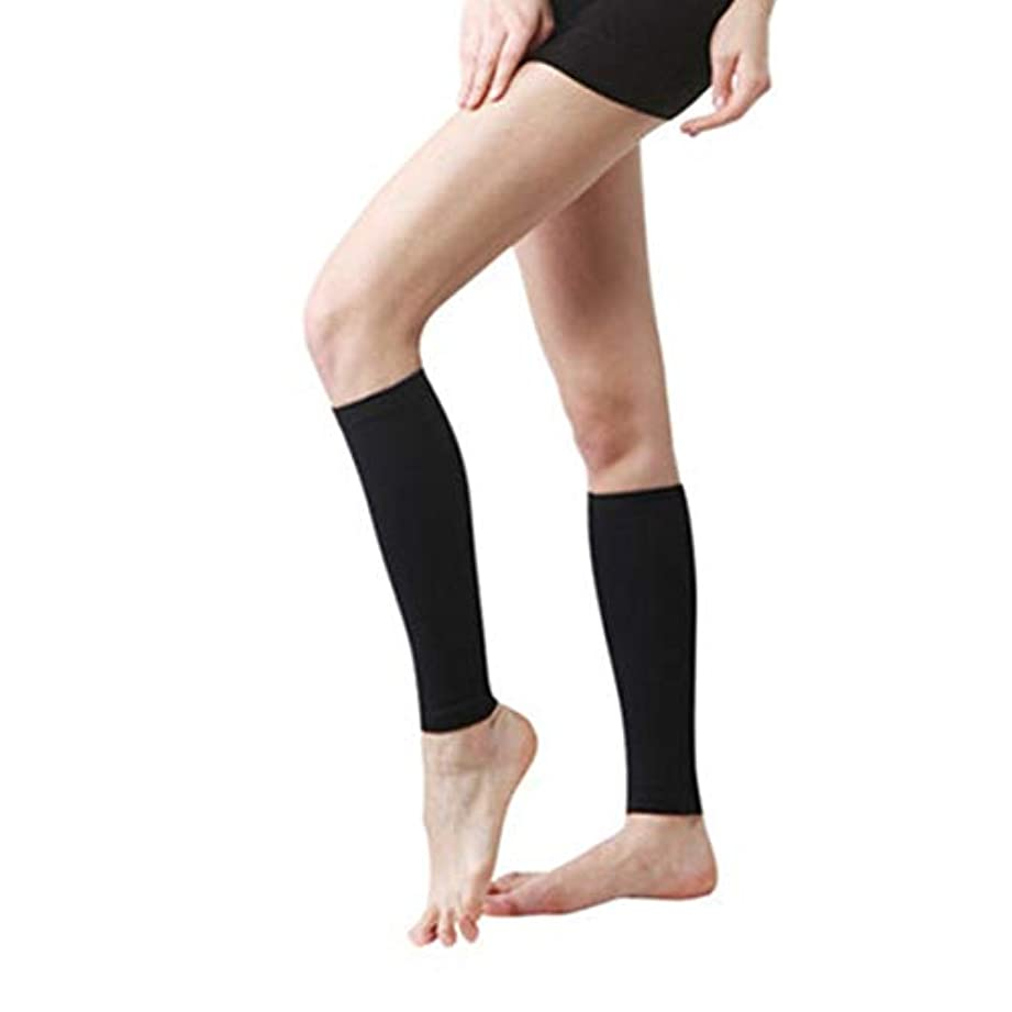 綺麗なサワーアスリート丈夫な男性女性プロの圧縮靴下通気性のある旅行活動看護師用シンススプリントフライトトラベル - ブラック