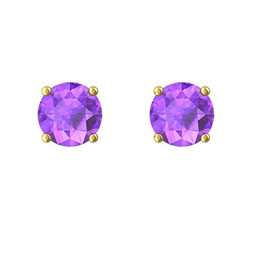Belinda Jewelz Womens 14k 7 mm Round Sparkle Bling Zodiac Birthstone Gemstone Prong Setting Earring Jewelries Accessory Gems Stud Earrings, 2.3 Carat Amethyst Purple