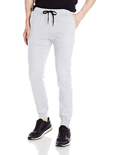 (Brooklyn Athletics Men's Twill Jogger Pants Soft Stretch Slim Fit Trousers, White, Large)