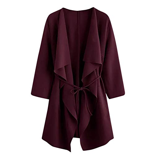 Skirt Wool Suit Red (Clearance Sale ! Kshion 2018 Women's Autumn Winter Coats Waterfall Collar Pocket Front Wrap Jacket Outerwear Cardigan Overcoat (Wine Red, XL))