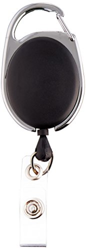 SICURIX(R) Quick Clip ID Badge Reels, Oval, Strap, 1 Each, Black