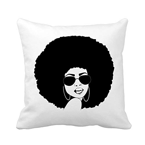 Awowee Throw Pillow Cover Brown Portrait of Beautiful African America Woman Attitude 16x16 Inches Pillowcase Home Decorative Square Pillow Case Cushion Cover