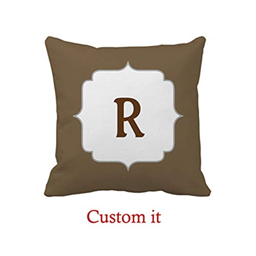 Goldaisy Rustic-Colored initialed Pillow Cover -
