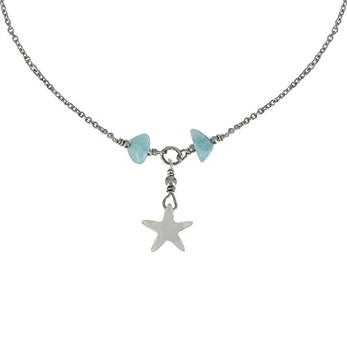 Les Poulettes Jewels - Rhodium Silver Necklace Chain Mother of Pearl Star and Nuggets of (Larimar Nuggets)
