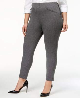 Anne Klein Womens Plus High Rise Herringbone-Weave Dress Pants B/W 22W Black/White