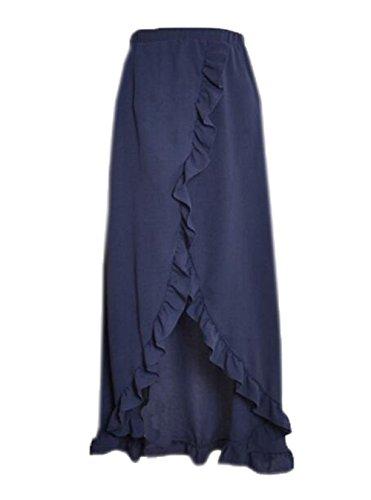 AILIENT Femmes Jupe D't avec Volant Grande Taille Split Stretch Jupe Beach Party Couleur Unie Blue