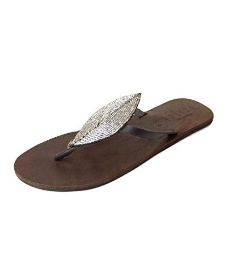 Aspiga Feuille plate en argent en cuir Sandales/Tongs
