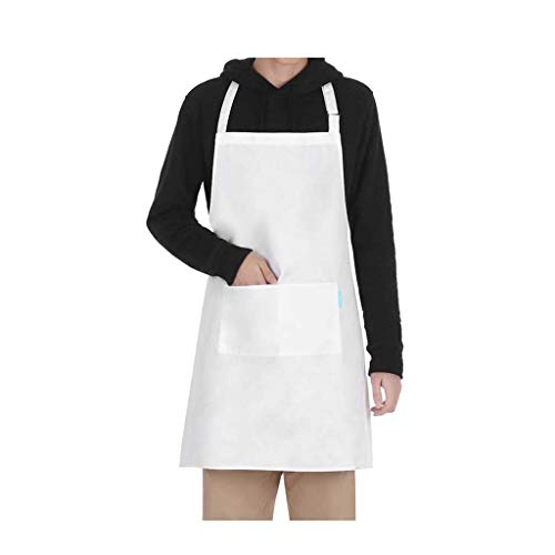 HULKAY Adjustable Apron丨Water Resistant with 2 Pockets Home Gown Work Dress丨Cooking Kitchen Florist Aprons for Women Men(White)
