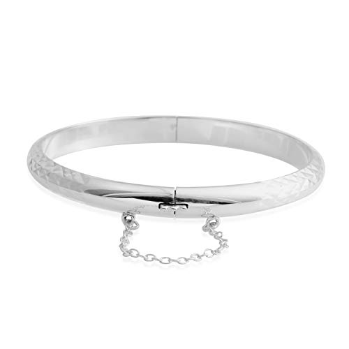 925 Sterling Silver Diamond Cut Bangle Cuff Bracelet for Women 7