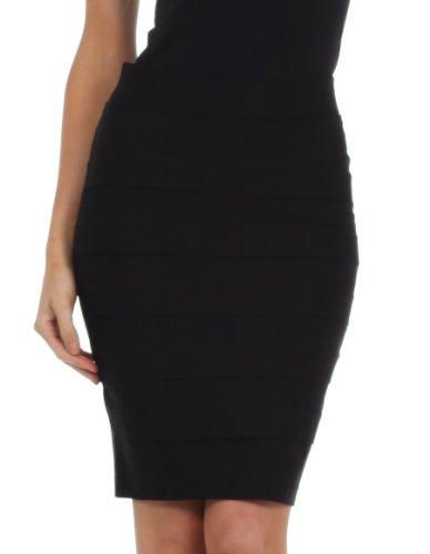 Knee Length Tiered Sleek Stretch Skirt medium Black