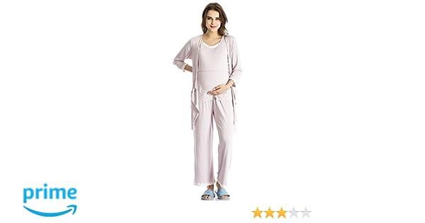 daaff9da73 Nursing Pajamas Maternity Pajamas Breastfeeding Pajamas 3 Piece Set Nursing  Sleepwear Pale Pinkish Purple Medium at Amazon Women s Clothing store