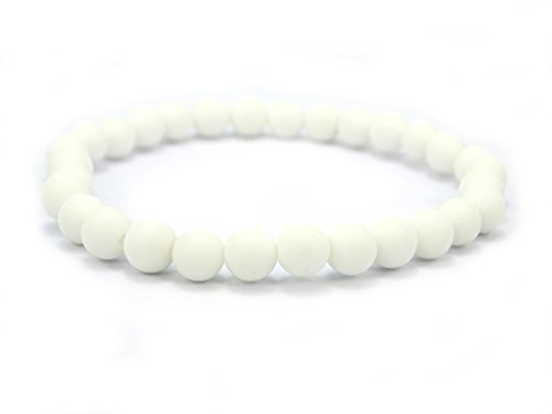 (jennysun2010 Handmade Natural Matte Frosted White Alabaster Gemstone Round Beads 6mm Stretchy Bracelet Healing 8'' Inches Wrist (34pcs Beads in the Bracelet))