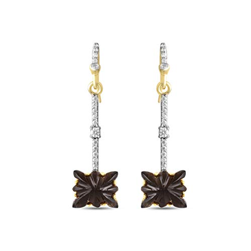 (AYOS Inc Natural Gemstone Birthstone Hand Carved Smoky Quartz (8.25 cttw) Earrings for Women 925 Sterling Silver Dangle Earrings)
