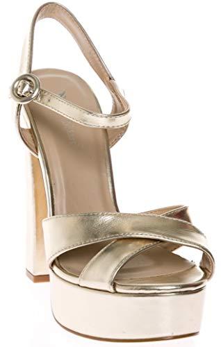 CALICO KIKI CAELA-CK01 Women's Buckle Ankle Strap Open Toe Chunky High Heel Platform Dress Sandals (8.5 US Gold MET)