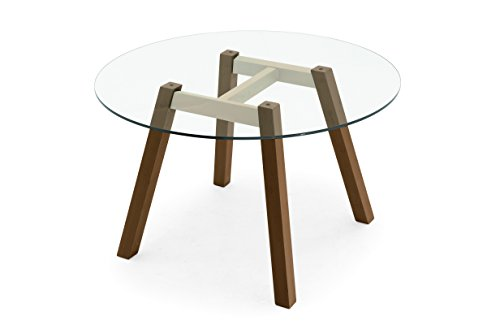 Connubia T-Table Round Table - Tempered Glass Transparent Top - Metal Stained Matt Nougat Frame - Beech Walnut Legs