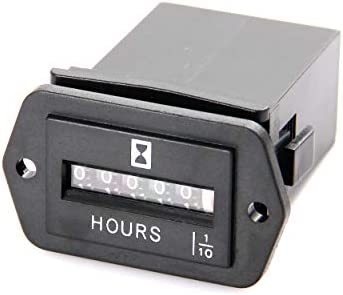 Jayron JR-HM002 Snap in mechanica Hour Meter for DC 6-50V Such as Fork Lifts, Golf carts, Floor Care Equipment, and Any Other Battery Powered Equipment