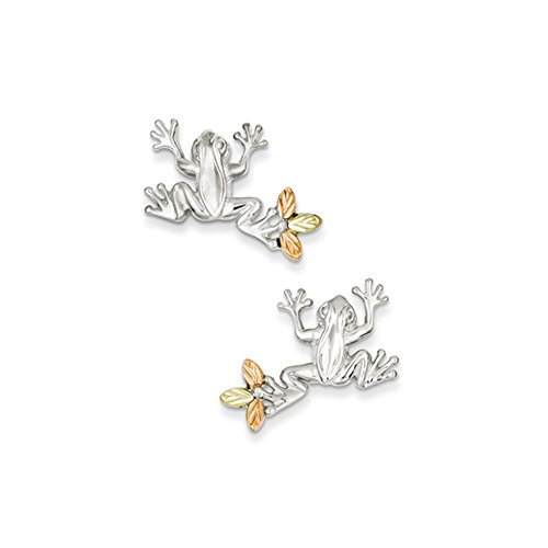 (Frog Post Earrings in Sterling Silver with 12K Gold Leaf Accents)