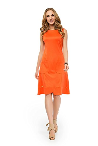 Donna Ae Maniche Tunica Vestito Orange Senza SIqIg0 04535236d04