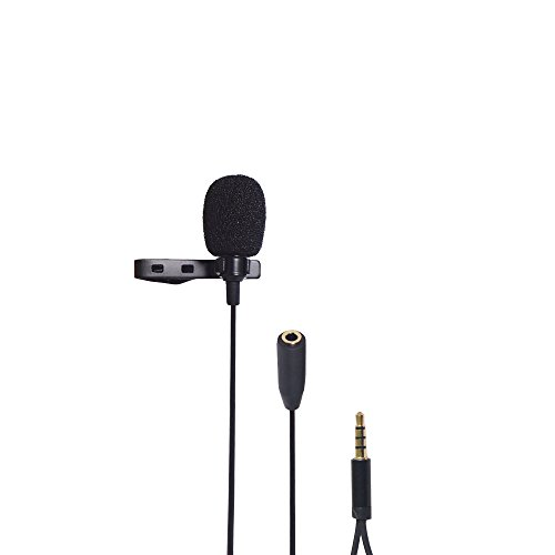 Riqiorod Lavalier Lapel Microphone, Omidirectional Mic with 3.5mm TRRS Jack Female Port, for Audio Gaming Interview Podcast Youtube Smartphone iPhone Samsung MP3 Player iPad Tablets, 5Feets Long