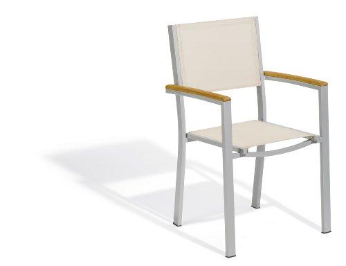 Oxford Garden Travira Aluminum and Teak Armchair, Natural Sling, 4-Pack by Oxford Garden