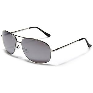 L-XL Oversized Men's Round Aviator Sunglasses MIRROR LENS