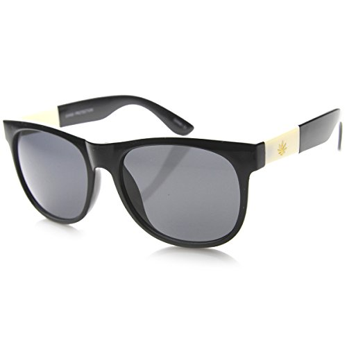 zeroUV-Classic-Shape-Gold-Detailed-Marijuana-Weed-Leaf-Horn-Rimmed-Sunglasses-Ivory-Leaf-Shiny-Black-Smoke