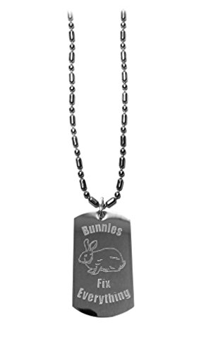Cheek Bunny - Bunnies Fix Everything - Luggage Metal Chain Necklace Military Dog Tag
