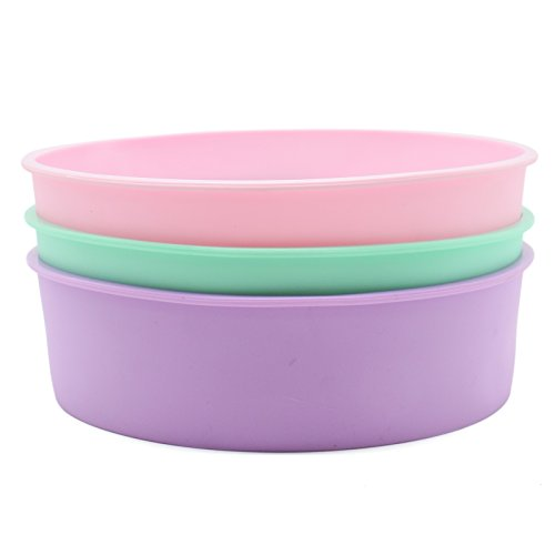 8-Inch Silicone Round Cake Pan Baking Mold,BPA Free, Non-Stick Silicone,Pack of 2