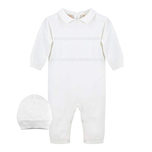 Baby Boys' Christening Coverall with Diamond Stitching - Includes Hat, 12M White