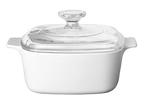 Corningware Kasserolle aus Pyroceram-Glas klassisch quadratisch 3 Liter, Weiß