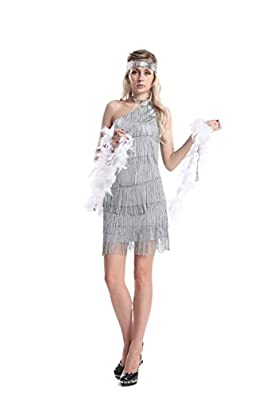 [GRACES]Womens 20s Gatsby Silver Dresses Vintage Inpired Flapper Dresses