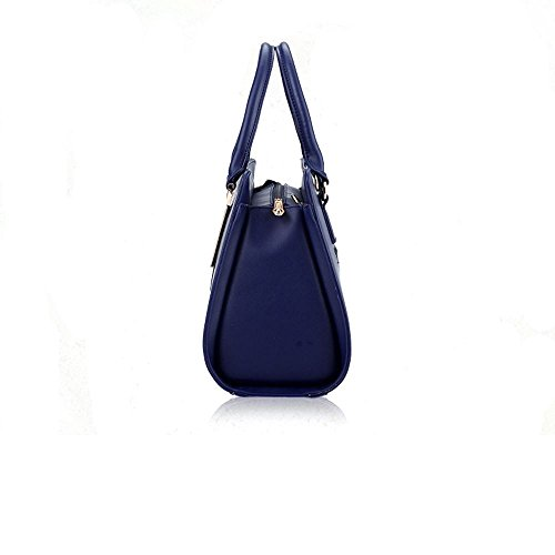 Bag Shopper Handbags Faux Sine90 Women's Ladies Leather Tote Large Blue Designer Shoulder qwvqTHAx