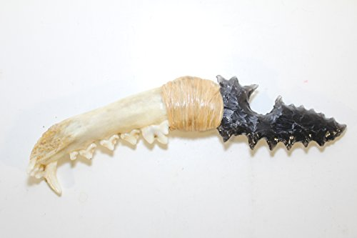 Mayan Serrated Hand Flint Knapped Clear Pit Obsidian Eccentric Fantasy Knife Blade Hafted On Coyote Jaw Handle With Artificial Sinew